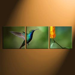 3 piece canvas wall art, home decor, green hummingbird group canvas, wildlife canvas print