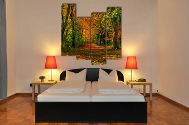 4 piece canvas print, bedroom group canvas, scenery wall decor, autumn multi panel canvas, trees group canvas