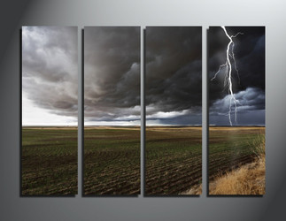 4 piece canvas wall art, home decor, scenery canvas photography, thunderstorm group canvas
