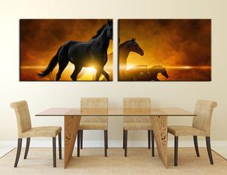 dining room Wall Decor, 2 Piece Wall Art, animal multi panel art, horse artwork, wildlife art