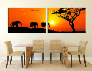 2 piece large canvas, dining room wall art, elephant orange pictures, wildlife canvas photography