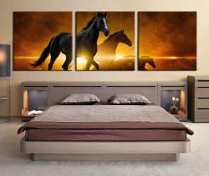 3 piece large pictures, yellow canvas print, bedroom huge canvas print, wildlife wall decor, horse group canvas