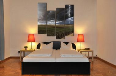 4 piece huge canvas art, bedroom multi panel canvas, thunderstorm photo canvas, scenery huge pictures, gray art
