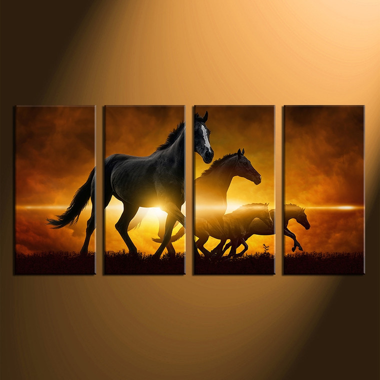 4 piece large canvas home decor, wildlife photo canvas, wildlife huge canvas art, black horse large canvas