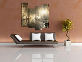 4 piece art, living room wall decor, yellow huge canvas art, scenery multi panel canvas, nature photo canvas
