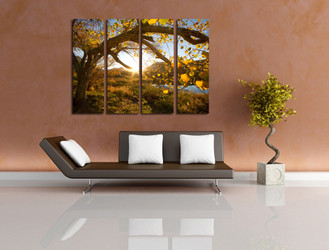 4 piece multi panel canvas, living room art, scenery huge canvas art, yellow huge pictures, autumn photo canvas