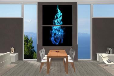 dining room art, 2 piece canvas art prints, wildlife wall art, blue tiger artwork, animal pictures