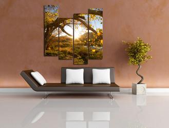 4 piece multi panel art, living room photo canvas, yellow canvas print, scenery art, autumn trees wall decor