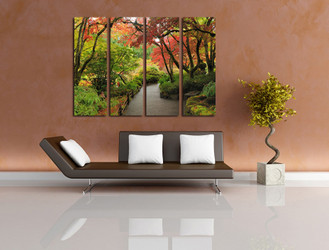 4 piece wall decor, living room artwork, nature huge pictures, scenery multi panel art, green artwork