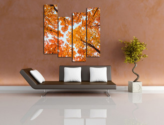 4 piece photo canvas, living room wall decor, scenery huge pictures, orange artwork, trees canvas print