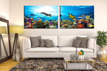 living room art, 2 piece canvas wall art, wildlife multi panel canvas, wildlife wall art, fish large pictures