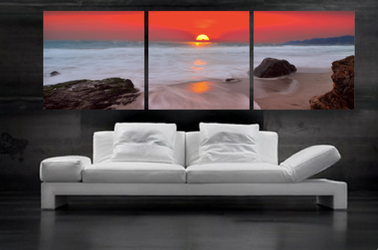 3 piece canvas print, living room photo canvas, red large pictures, ocean wall decor, panoramic artwork