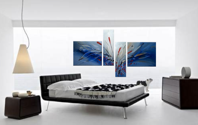 4 piece canvas print, bedroom huge pictures, blue art, abstract group canvas, oil painting artwork