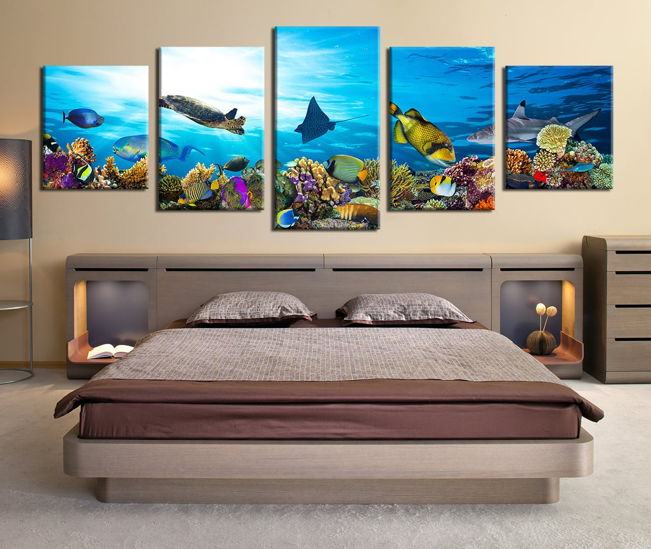 5 piece large canvas blue panoramic canvas photography bedroom canvas wall art fish
