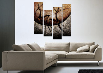4 piece canvas print, living room artwork, abstract photo canvas, brown multi panel art, oil painting art