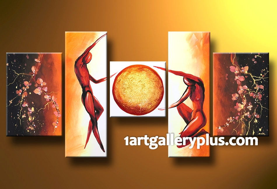 5 Piece Artwork Orange Abstract Large Pictures Oil Painting Multi