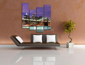 4 piece huge canvas art, living room artwork, brooklyn bridge multi panel canvas, purple wall decor, cityscape large pictures