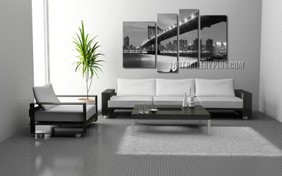 4 piece multi panel art, living room huge pictures, gray wall decor, city art, bridge huge canvas print