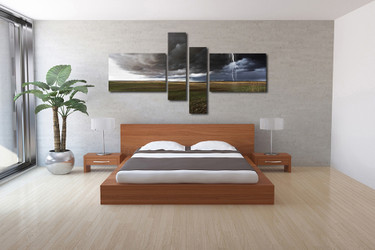 bedroom decor, 4 Piece Wall Art, thunderstorm pictures, scenery multi panel art, thunderstorm canvas wall art