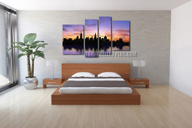 4 piece photo canvas, bedroom wall decor, city large canvas, cityscape huge canvas art, city decor