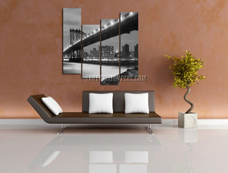 4 piece canvas print, living room multi panel art, gray large pictures, brooklyn bridge canvas photography, cityscape art
