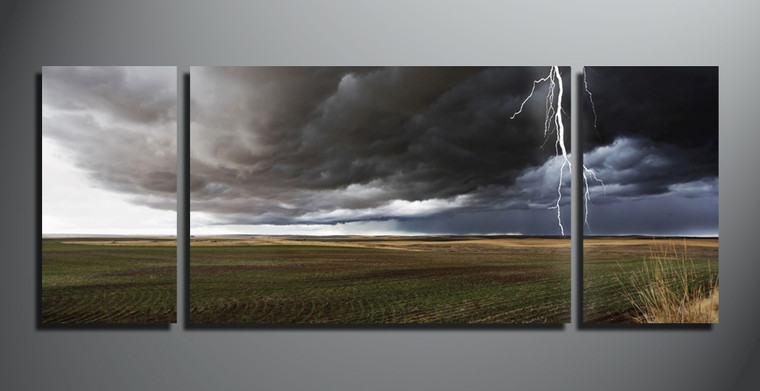 home decor, 3 piece canvas wall art, thunderstorm multi panel canvas, scenery canvas art, nature group canvas