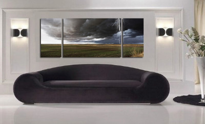 living room art, 3 piece canvas wall art, thunderstorm multi panel canvas, scenery wall art, scenery large pictures