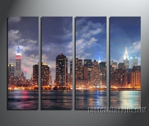 4 piece multi panel canvas, home decor, cityscape  huge canvas art, city group canvas, new york city artwork