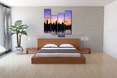 4 piece photo canvas, bedroom artwork, new york city canvas photography, city wall art