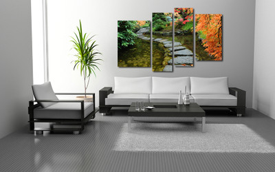 4 piece canvas wall art, living room large pictures, scenery artwork, nature huge canvas art, green photo canvas