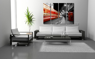 4 piece art, living room huge pictures, city canvas print, grey huge canvas art, telephone booth canvas photography