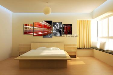5 piece canvas print, bedroom wall decor, gray multi panel art, city artwork, panoramic photo canvas