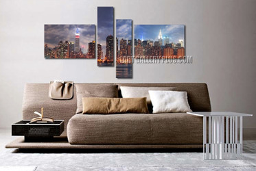 4 piece large canvas, living room huge canvas print, new york canvas wall art, city photo canvas