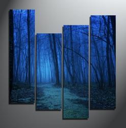 4 piece canvas print, home decor, blue group canvas, scenery artwork, trees canvas photography