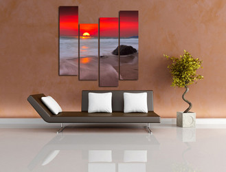 4 piece artwork, living room group canvas, sunset huge pictures, ocean wall decor, red huge canvas print