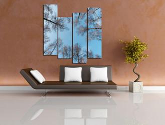 4 piece multi panel art, living room photo canvas, blue canvas print, scenery art, trees wall decor