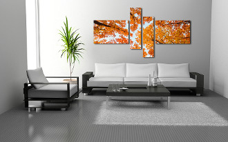 4 piece multi panel canvas, living room art, orange group canvas, scenery large pictures, nature tree canvas wall art