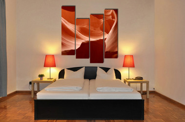 bedroom decor, 4 piece wall art, landscape large pictures, orange wall art, landscape huge pictures