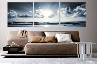 3 piece canvas wall art, living room large pictures, ocean wall decor, grey artwork, panoramic multi panel canvas