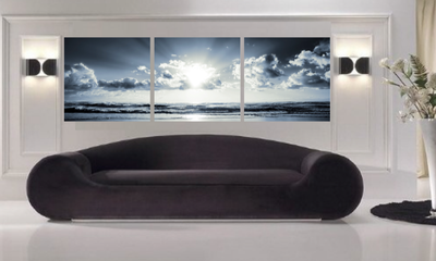 3 piece canvas print, living room multi panel art, ocean photo canvas, grey huge pictures, panoramic canvas photography