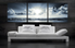 3 piece huge pictures, living room canvas wall art, ocean canvas print, grey art, panoramic photo canvas