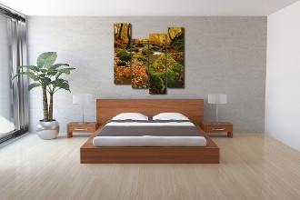 4 piece canvas print, bedroom multi panel art, green large pictures, autumn wall decor, nature canvas photography