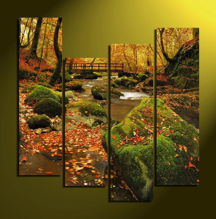 4 piece canvas wall art, home decor, green group canvas, autumn multi panel canvas, nature huge canvas print