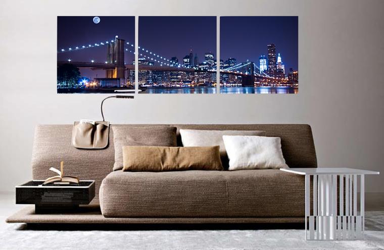 3 piece large pictures, bedroom photo canvas, bridge multi panel art, blue huge canvas print, panoramic wall decor