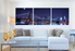 3 piece canvas wall art, home decor, bridge artwork, blue multi panel art, panoramic canvas photography