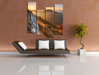 4 piece photo canvas, living room wall decor, landscape huge canvas art, sunrise huge pictures, orange multi panel canvas