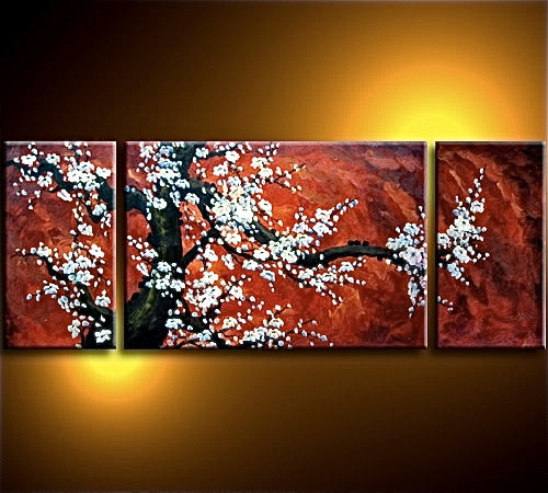 3 piece canvas wall art, living room large pictures, floral multi panel art, red wall decor, panoramic canvas photography