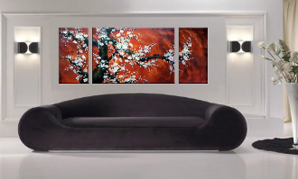 3 piece large pictures, living room huge canvas art, floral wall decor, brown group canvas, panoramic huge pictures
