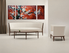 3 piece huge canvas print, living room art, floral multi panel canvas, red canvas wall art, panoramic artwork
