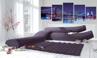 5 piece huge canvas print, living room photo canvas, purple art, brooklyn bridge canvas wall art, cityscape artwork